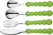 Kitchencraft Let's make 4 Piece Children's Stainless Steel Caterpillar Cutlery Set