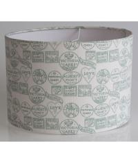 Fondant Textiles Happy Union' duck egg print 100% cotton lampshade
